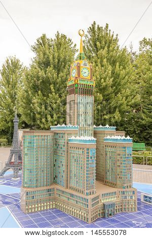 GUNZBURG GERMANY - AUG 18 2016: Makkah Royal Clock Tower Hotel build from the Lego blocks at the Legoland Germany
