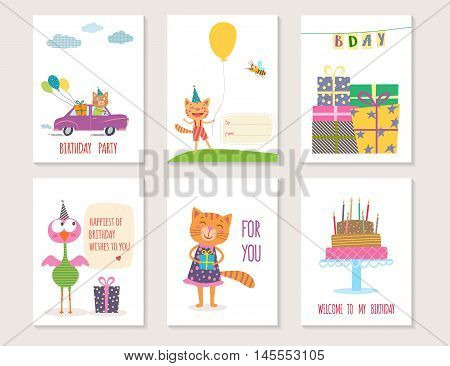 Set of birthday greeting cards design with cartoon animals. Vector illustration