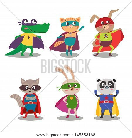 Superhero animal kids. Cartoon vector illustration. Little cat dog panda raccoon rabbit and crocodile in superheroes costume