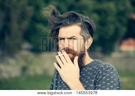 handsome sexy bearded young man hipster with long beard and mustache has stylish hair on serious hairy face smoking cigarette outdoor on green natural background closeup