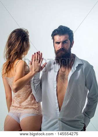 Bearded Man And Sexy Girl
