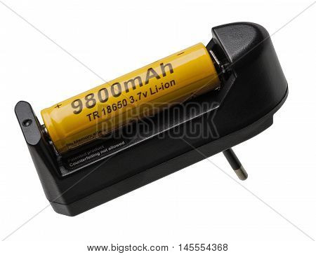The battery 18650 is charged in the battery charger isolated