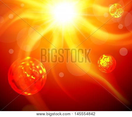 Glowing sun with planets, fictional vector background.