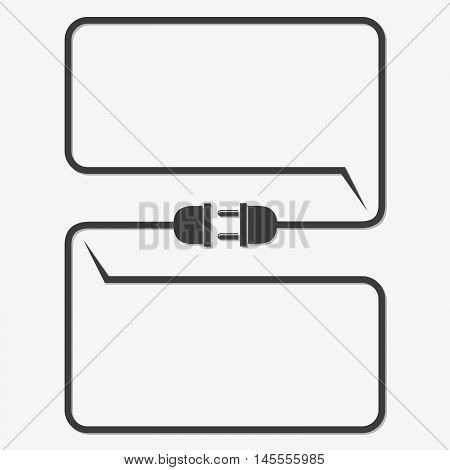 Wire plug and socket - vector illustration. Concept of connection disconnection of the electricity. Plug socket and cord in flat design.