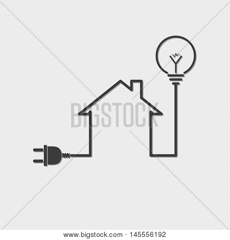 Black house with wire plug and light bulb - vector illustration. Simple icon with house silhouette light bulb and wire plug.
