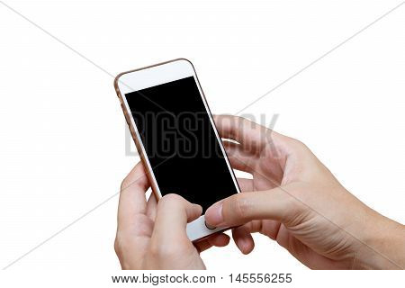 Human hand holding white phone on black screen isolated with clipping path