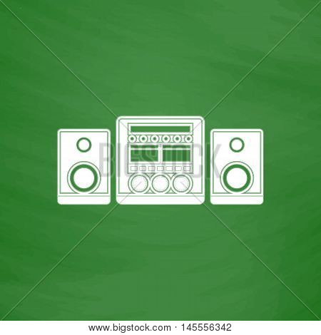 Sound System Simple vector button. Imitation draw icon with white chalk on blackboard. Flat Pictogram and School board background. Illustration symbol