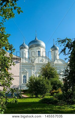 Intercession Cathedral in Zverin Intercession monastery Veliky Novgorod Russia - architecture view.