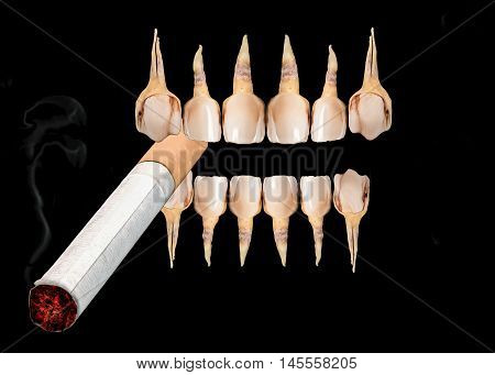 Very bad deseased teeth holding smoking sigarette isolated over black background. Concept of unhealthy lifestyle