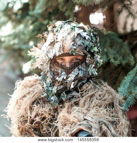 Girl Soldier In Ghillie Camouflage