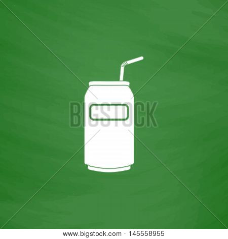 Soda Simple vector button. Imitation draw icon with white chalk on blackboard. Flat Pictogram