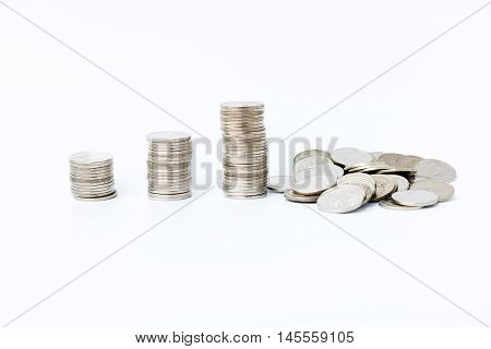 The financial concept Money coin graph schedule collapse in the fail