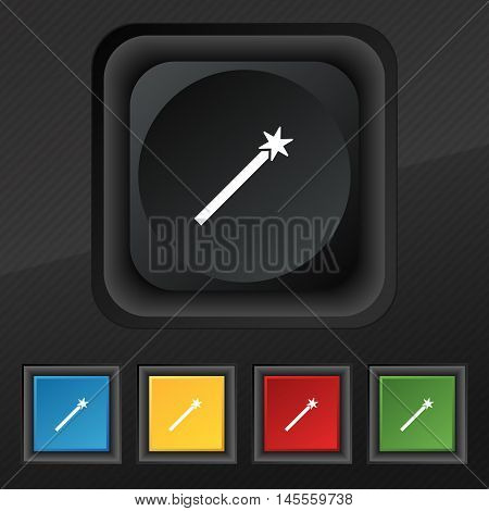 Magic Wand Icon Symbol. Set Of Five Colorful, Stylish Buttons On Black Texture For Your Design. Vect