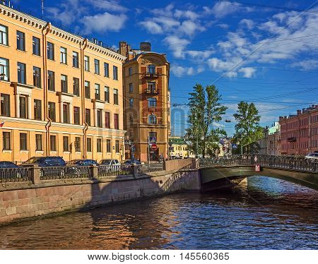 Bridge on the channel of Griboedov in St Petersburg Russia