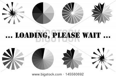 Loading, progress or buffering spinning icons, vector