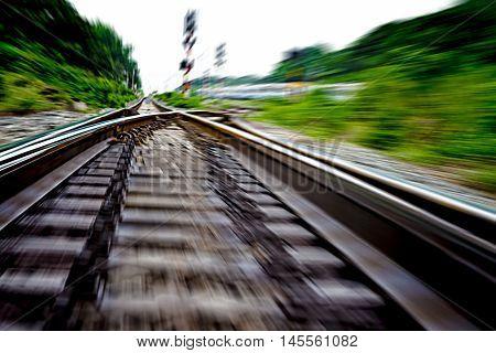railway track, train fast run on railway track