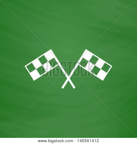 Racing flag Simple vector button. Imitation draw icon with white chalk on blackboard. Flat Pictogram and School board background. Illustration symbol