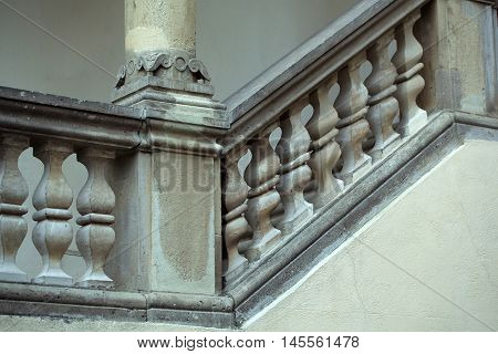 Stone Balustrade Of Parapet