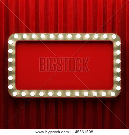 Shining retro rectangle cinema banner. 3D illustration