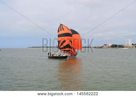 Sail boat à La Rochelle seaport located on the Bay of Biscay, a part of the Atlantic Ocean
