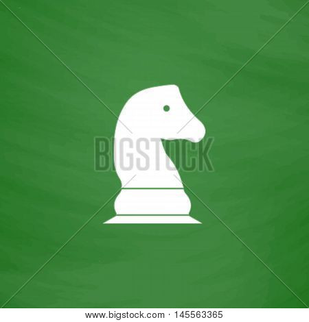 Chess knight Simple vector button. Imitation draw icon with white chalk on blackboard. Flat Pictogram and School board background. Illustration symbol