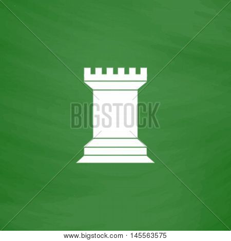 Chess Rook Simple vector button. Imitation draw icon with white chalk on blackboard. Flat Pictogram and School board background. Illustration symbol