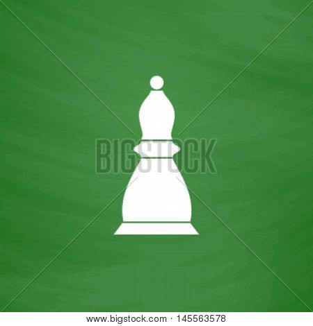Chess bishop Simple vector button. Imitation draw icon with white chalk on blackboard. Flat Pictogram and School board background. Illustration symbol