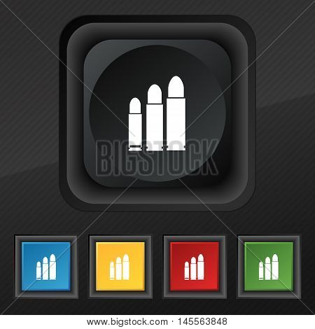 Bullet Icon Symbol. Set Of Five Colorful, Stylish Buttons On Black Texture For Your Design. Vector