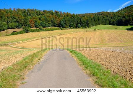 Road closed to agricultural field with coils of hay and forest in Germany.