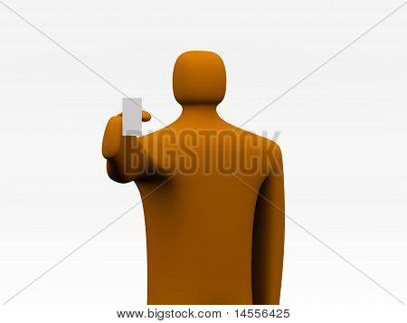 3D Cartoon Man With Blank Board