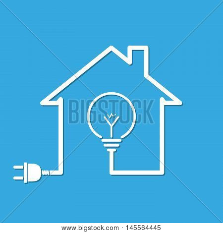 Silhouette of house with wire plug and light bulb - vector illustration. Simple icon with house light bulb and wire plug on blue background.