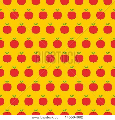 Apple flat seamless pattern. Vector illustration of image of apple on a yellow background.