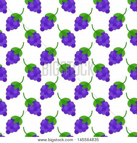 Grapes Flat Seamless Pattern Over White