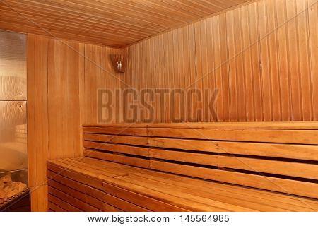 Finnish wooden sauna interior with nobody photo