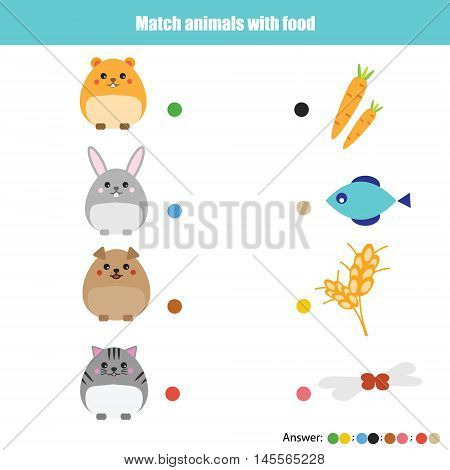 Match the animals with food children educational game. Learning animals theme kids activity