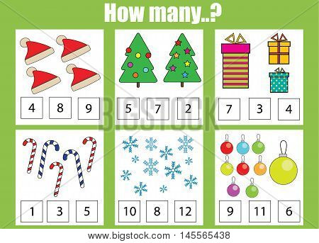 Counting educational children game kids activity sheet. How many objects task christmas theme. Learning mathematics numbers addition theme