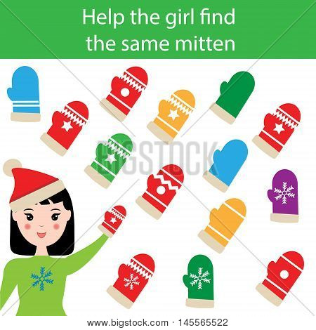 Find the same pictures children educational game. Find equal mittens task for kids. Winter theme