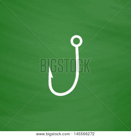 Hook Simple vector button. Imitation draw icon with white chalk on blackboard. Flat Pictogram and School board background. Illustration symbol