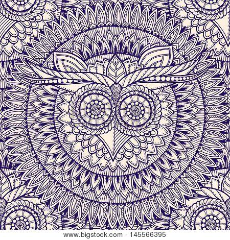 Birds mandala theme. Owl seamless mandala pattern with abstract ethnic aztec ornament pattern. Owl banner. Zentangle inspired. Stylized ethnic owl head. Black and white owl pattern.
