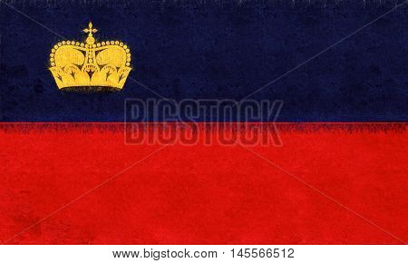 Illustration of the national flag of Liechtenstein with a grunge texture
