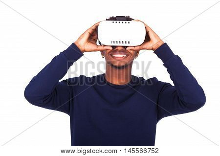 African American Young Man Wearing Vr Virtual Reality Headset Over White Background