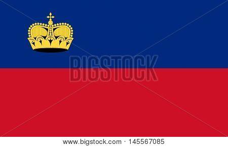Illustration of the national flag of Liechtenstein