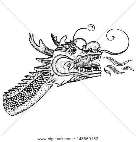 Chinese hand drawn dragon. Ink illustration. Dragon's head.