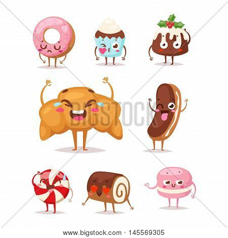 Sweet emotion lovely dessert character dessert icon, cute cake, adorable candy, sweet food character. Sweet emotion girly cookie. Confectionery caramel sweet emotion. Food character carton style