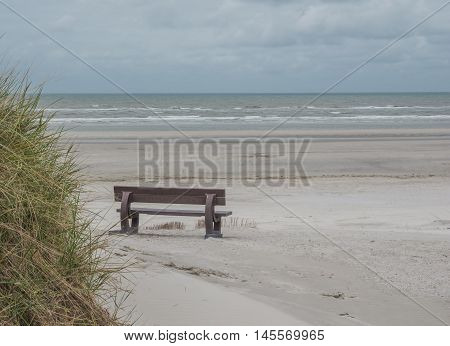 Bench on beach near grassy dunes on the island of Ameland in the Waddenzee