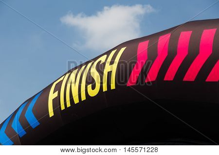 MILAN ITALY - SEPTEMBER 3: Finish sign at the Color Run event the funniest and most colorful urban running ever on SEPTEMBER 3 2016 in Milan.