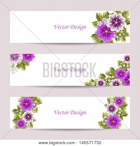 Set of horizontal banners. Beautiful compositions with mallows on white background.