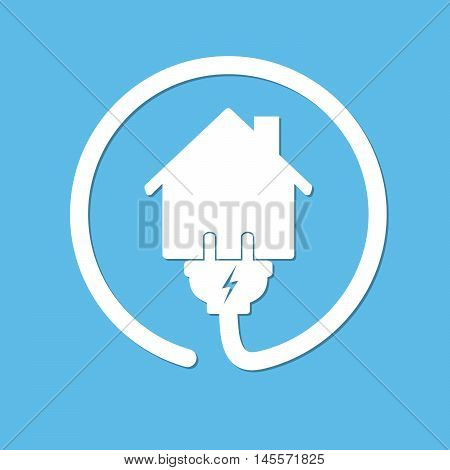 Silhouette of house with wire plug and socket - vector illustration. Simple icon with house and wire fork on blue background. Concept of connection and disconnection of the electricity.