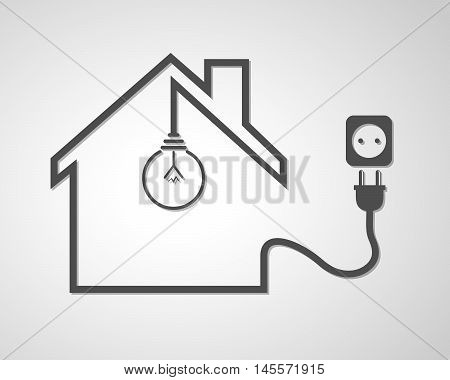 Black house with socket and light bulb - vector illustration ...