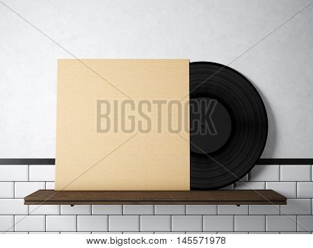 Photo vinyl music album template on natural wood bookshelf.White painted bricks wall background.Vintage style, high textured row materials.Craft paper blank disk cover. Horizontal. 3D rendering